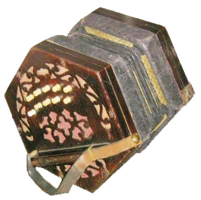 Original Two-Row Antique Concertina against white background