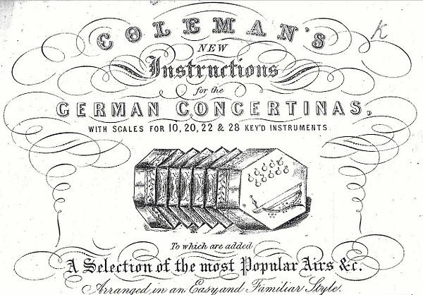 Old advertisement for a German Concertina tutorial and song book, line drawing - irish concertina playing