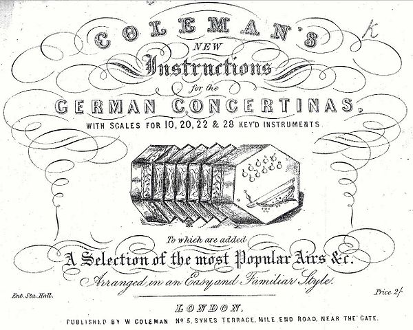 Old advertisement for a German Concertina tutorial and song book, line drawing