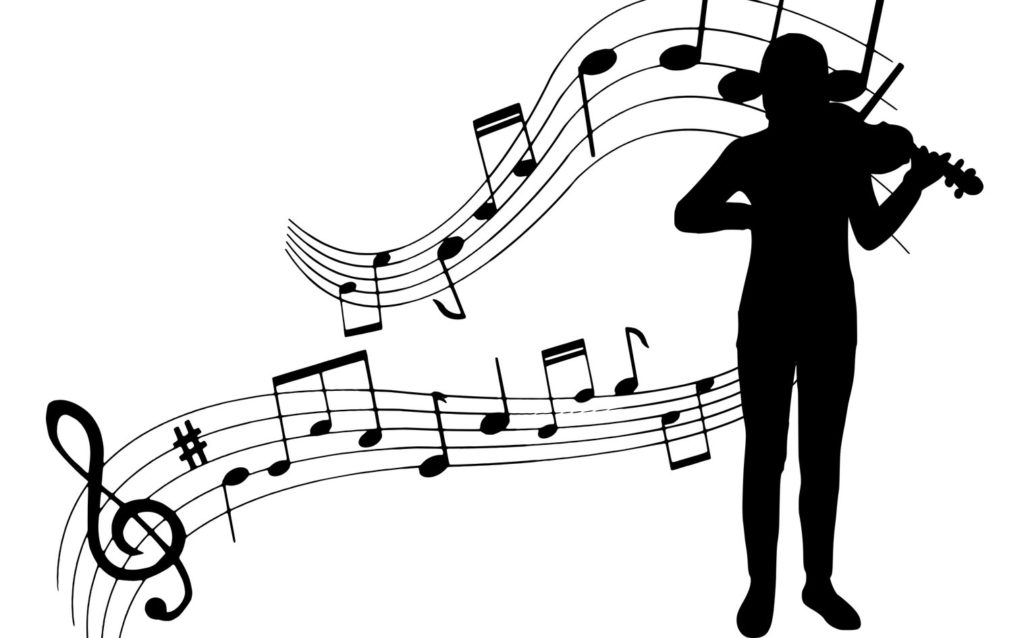 Silhouette of Adult Learner on violin with abstract of musical notes in the background