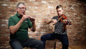 Paraic Mc Neela on whistle Liam O'Connor on fiddle playing Drowsy Maggie at McNeela Instruments