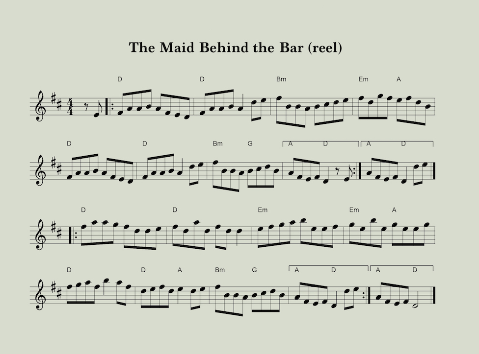 Sheet Music for the Maid Behind the Bar