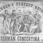 18th century poster with a line drawing showing flute, concertina, violin and piano players