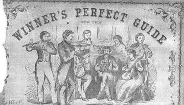 18th century poster with a line drawing showing flute, concertina, violin and piano players - concertina playing