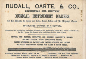 Vintage Poster Showing Rudall, Carte & Co. musical instruments including flutes both simple system and Boehm