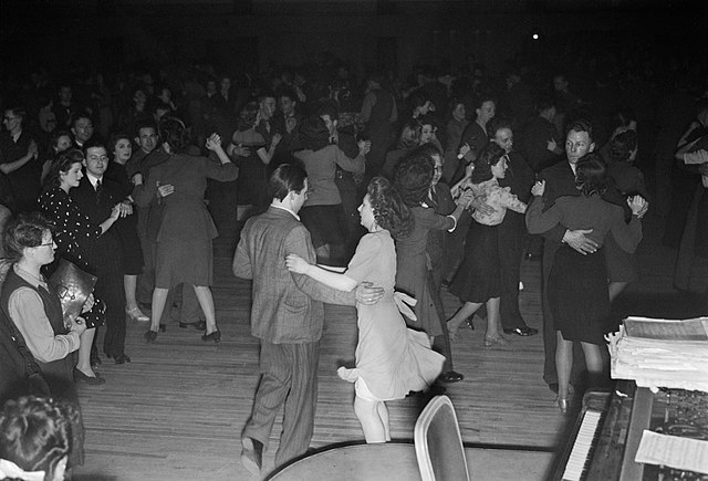 People jiving in a dance hall in the 1940s