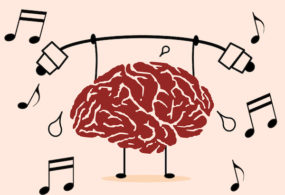 Cartoon of brain training with musical notes