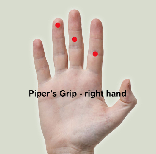 Hand with red dots on it to show how to use a piper's grip on a flute