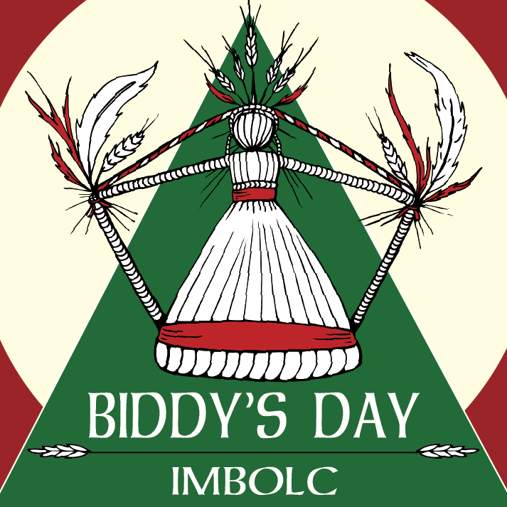 Graphic logo for Biddy's Day Imbolc in red, white and green, straw doll motif