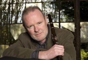 Conal Ó Gráda with his keyed African Blackwood Irish flute
