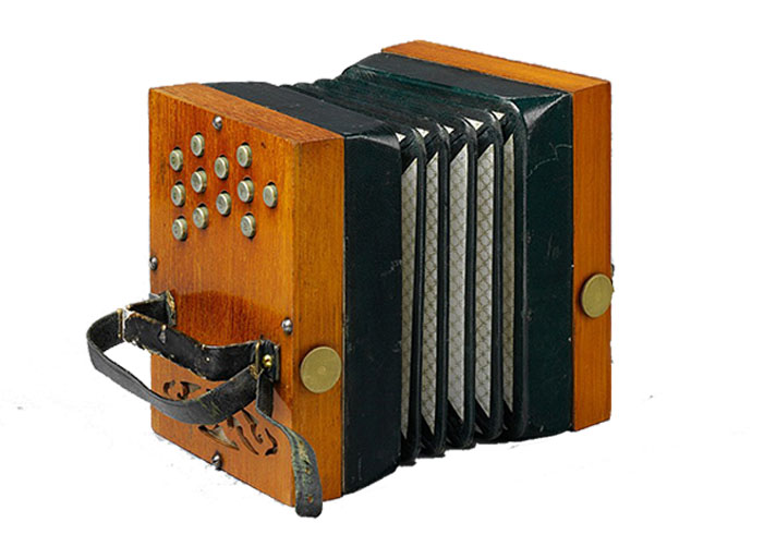 Picture of an early 12 button Wheatstone concertina. Most Asked Questions about Concertinas