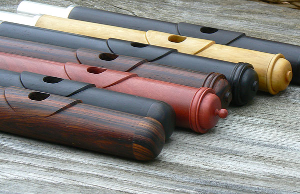 Selection of wooden Irish flutes