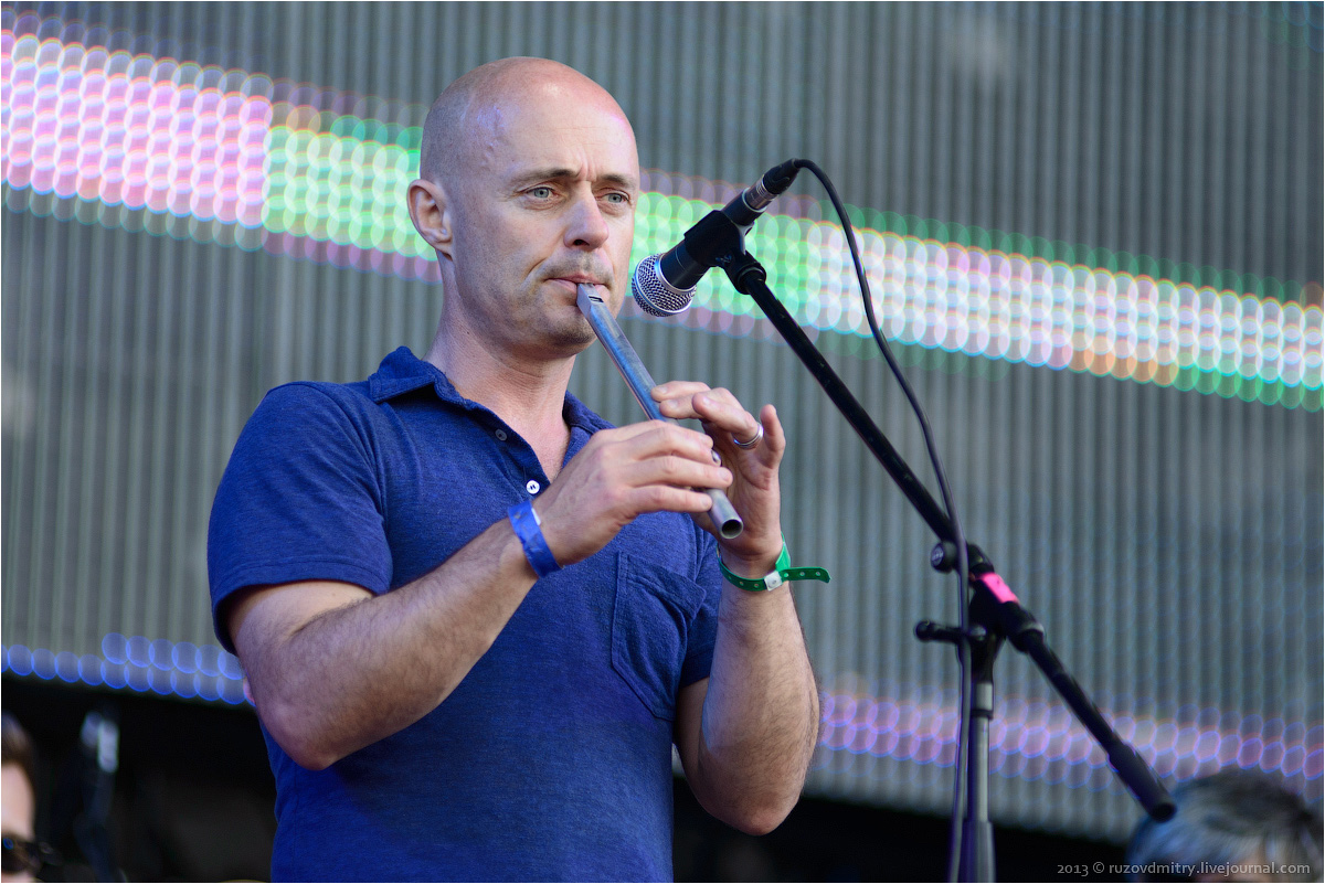 Brian Finnegan playing the tin whistle