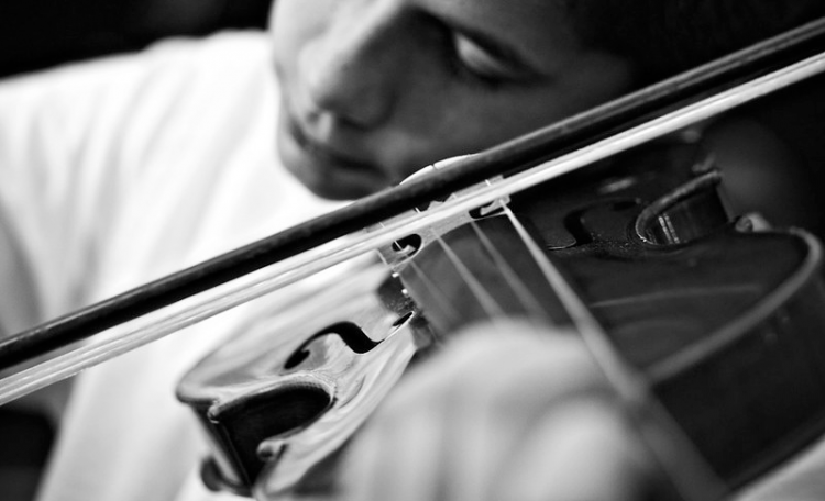 fiddle player violin player playing using violin bow
