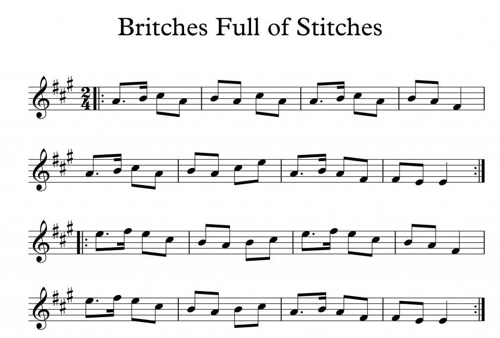 britches full of stitches in a major