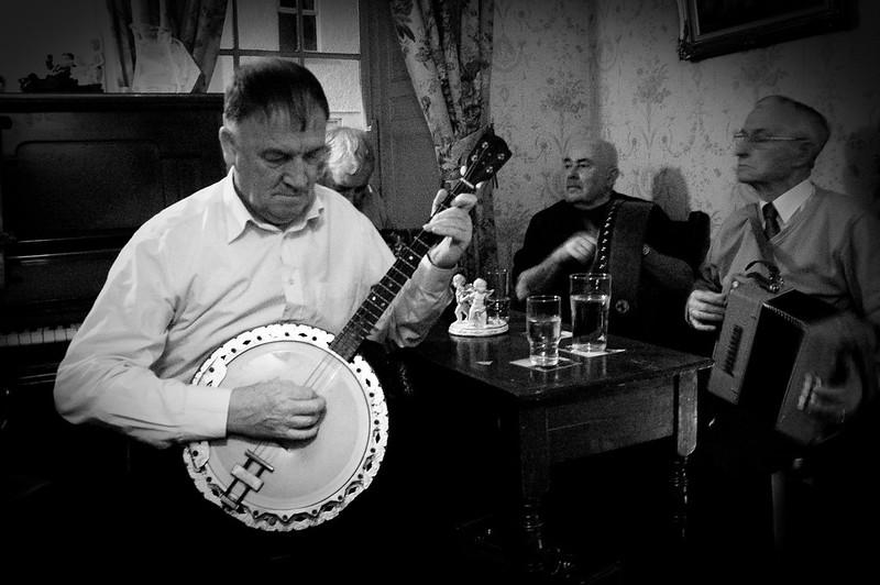 Irish tenor banjo at an Irish music session