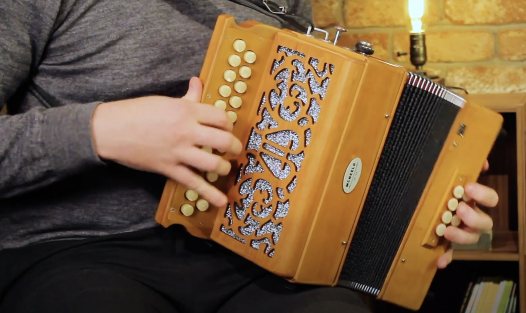 Conal Cuttle playing McNeela's 23 button 3 voice wooden Irish button accordion button box