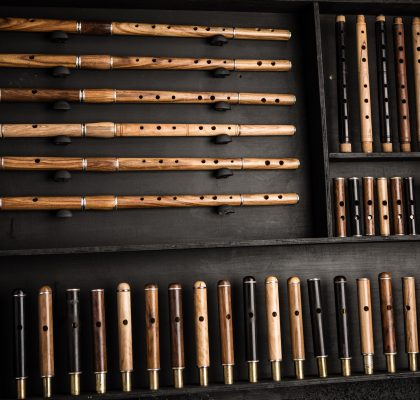McNeela Instruments workshop - selection of Irish and Celtic wooden flutes