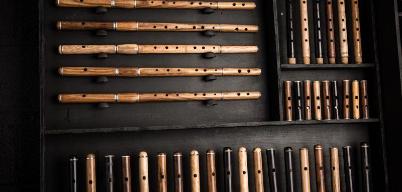 McNeela Instruments workshop - selection of Irish and Celtic wooden flutes