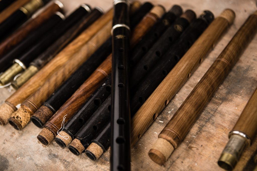 Collection of Irish wooden flutes in McNeela Instruments workshop, Dublin