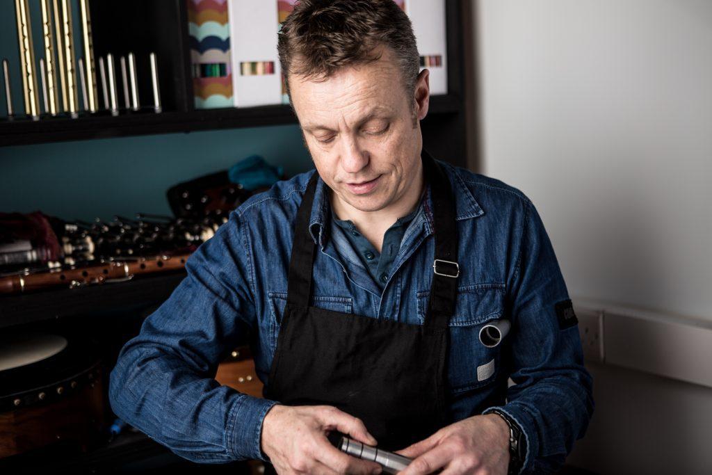 John O'Brien in the Setanta Whistle Workshop in McNeela Instruments