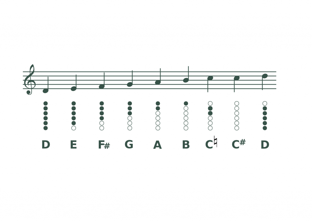 Learn how to play the Irish tin whistle - D Major Scale - Tin Whistle Fingering Chart